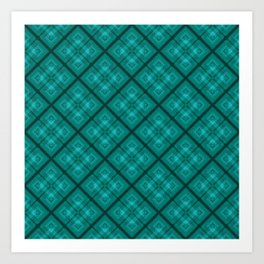 Turquoise plaid  3 Art Print