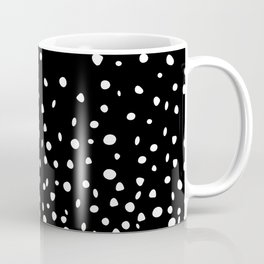 White Polka Dot Rain on Black Coffee Mug
