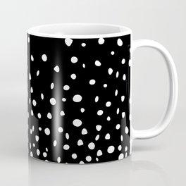 White Polka Dot Rain on Black Coffee Mug