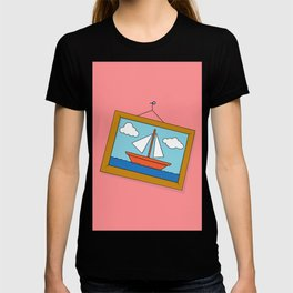 Scene from Moby Dick on pink T-shirt