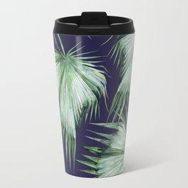 Floating Palm Leaves Blue Travel Mug