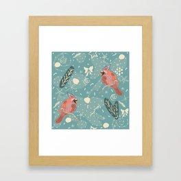 Cardinal Bird Pattern Framed Art Print