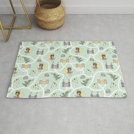 Childish seamless pattern with princess and dragon green background Rug