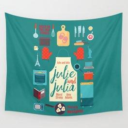 Julie and Julia, minimal movie poster, Meryl Streep, Amy Adams, Nora Ephron film, Julia Child, cook Wall Tapestry