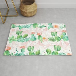 Watercolor geometric seamless pattern background with succulents and cactus in peach and green colors Rug