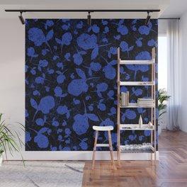 Dark Blue Floral Blooms on Black Wall Mural