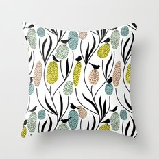 Decorative Birds - Graphic pattern pretty birds and flowers Throw Pillow