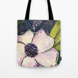 Happy White Flower Tote Bag