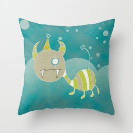 Party-Animal in the Night Bubbles Throw Pillow