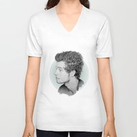 luke hemmings V-neck T-shirts featuring Luke by Drawpassionn