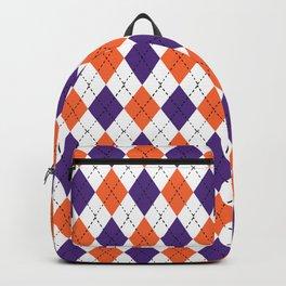 Argyle orange and purple pattern clemson football college university alumni varsity team fan Backpack