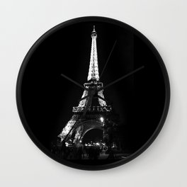 Paris Eiffel tower at night Wall Clock
