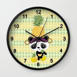 Carmen Miranda Kawaii Panda with Pineapple Wall Clock