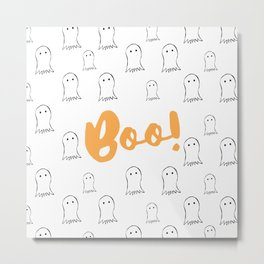 Boo! Ghosts Pattern Metal Print