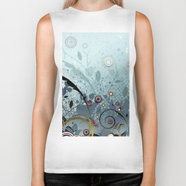 Blue Mystery Forest of Flowers and Tendrils Biker Tank