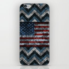 Blue Military Digital Camo Pattern with American Flag iPhone Skin