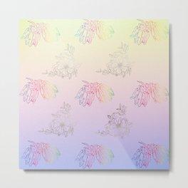 Gentle ombre metallic flowers Metal Print