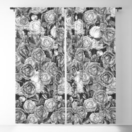 Vintage Roses Black And White Blackout Curtain