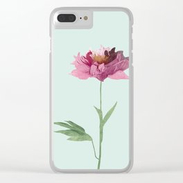 Pink Peony Flower Clear iPhone Case