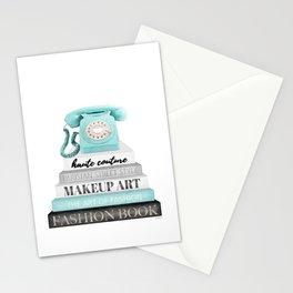 Vintage, Phone, Books, Fashion books, Teal, Fashion, Fashion art, fashion poster Stationery Cards