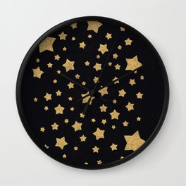Gold Stars on BLack Wall Clock