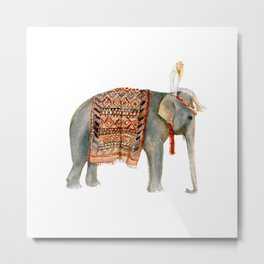 Riding Elephant Metal Print
