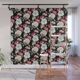 Romantic Vintage Flower and Butterfly Pattern Wall Mural