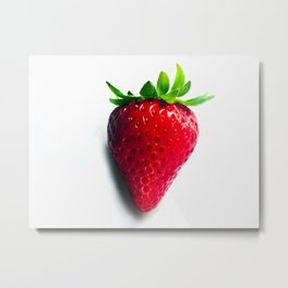Luscious Red Strawberry Close-up Metal Print