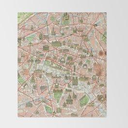 Vintage Map of Paris (1920) Throw Blanket