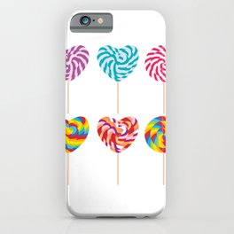 lollipops, colorful spiral candy cane with twisted design iPhone Case