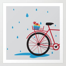 Bicycle & rain Art Print