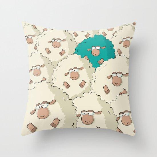 Sheep Pattern | Turquoise Throw Pillow