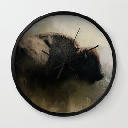 Abstract American Bison Wall Clock