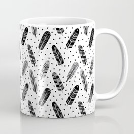 Feathers black and white triangle geometric modern trendy hipster boho southwest native style kids Coffee Mug