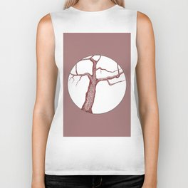 Apple Tree Illustration in Dark Red Biker Tank