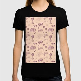 Sweet pattern with various desserts. T-shirt
