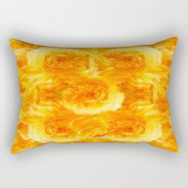 MODERN  GOLDEN ROSES FLOWERS CARPET Rectangular Pillow
