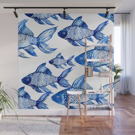 BLUE SCHOOL OF FISH Wall Mural