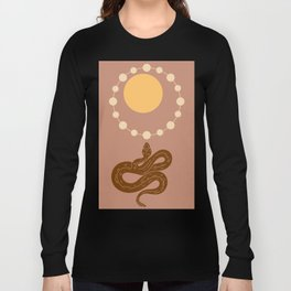 Snake And Sun - Mid-Century Minimalist Graphic Beige Long Sleeve T-shirt