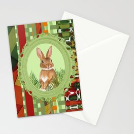 Bunny in green frame with geometric background stripes Stationery Cards