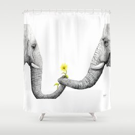 """Up Close You Are More Wrinkly Than I Remembered"" Shower Curtain"