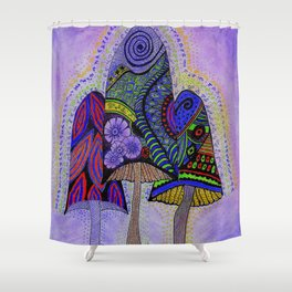 Forest Mushroom Light Language Energy Shower Curtain