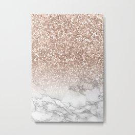 She Sparkles - Rose Gold Glitter Marble Metal Print