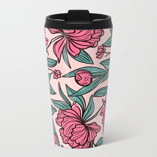 Floral Obsession (pink peonies vintage flowers pattern) Metal Travel Mug