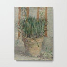 Flowerpot with Garlic Chives Metal Print