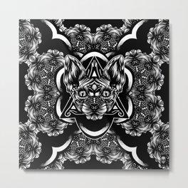 Sphynx floral bw Metal Print