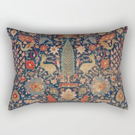 17th Century Persian Rug Print with Animals Rectangular Pillow