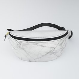 White & Gray Marble Texture Print Fanny Pack
