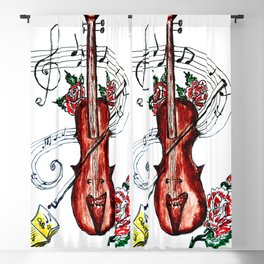 Brown Violin with Notes Blackout Curtain