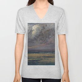 """Gustave Courbet """"Normandy coast near Trouville, sailboats seen from the shore"""" Unisex V-Neck"""